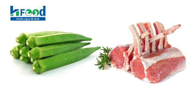 thịt cừu xào đậu bắp